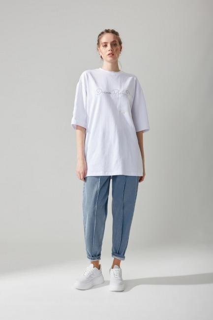 Organze Detaylı Tshirt(Beyaz) - Thumbnail