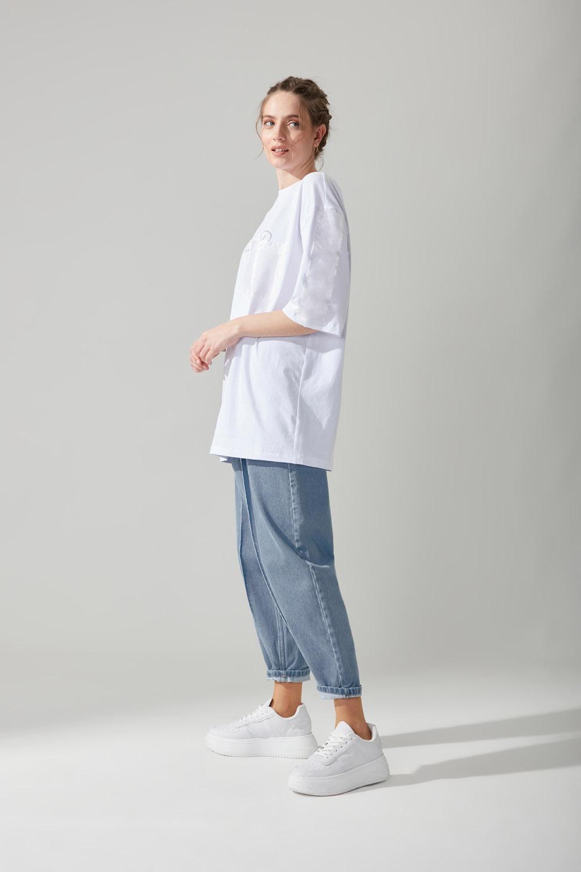Yazı Baskılı Beyaz T-shirt