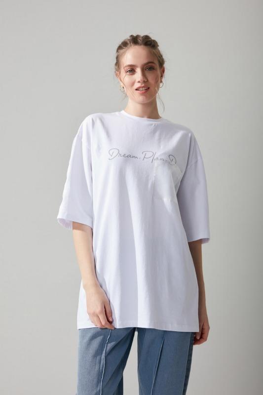 Organze Detaylı Tshirt(Beyaz)