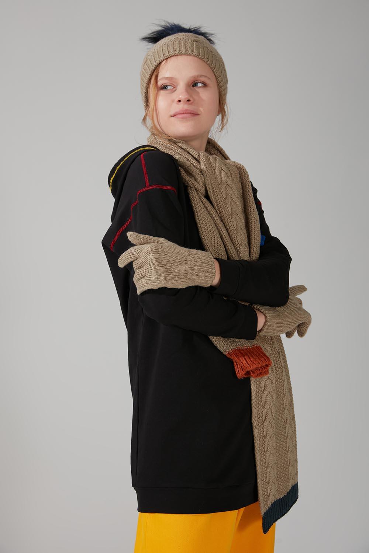 Örgü Şapka Eldiven Bere Takımı (Kum) - Thumbnail
