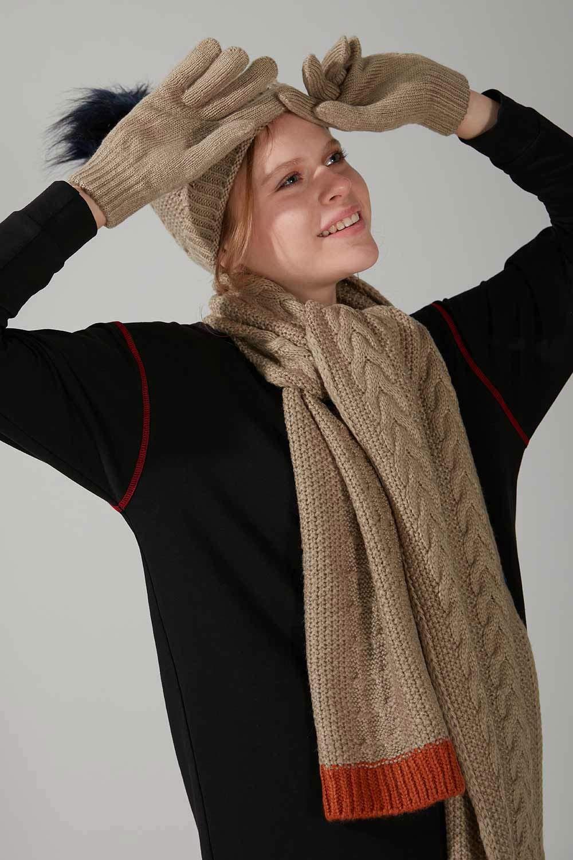 Örgü Şapka Eldiven Bere Takımı (Kum)