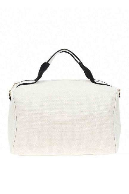 MIZALLE - حقيبة يد كبيرة الحياكة (أبيض) (1)