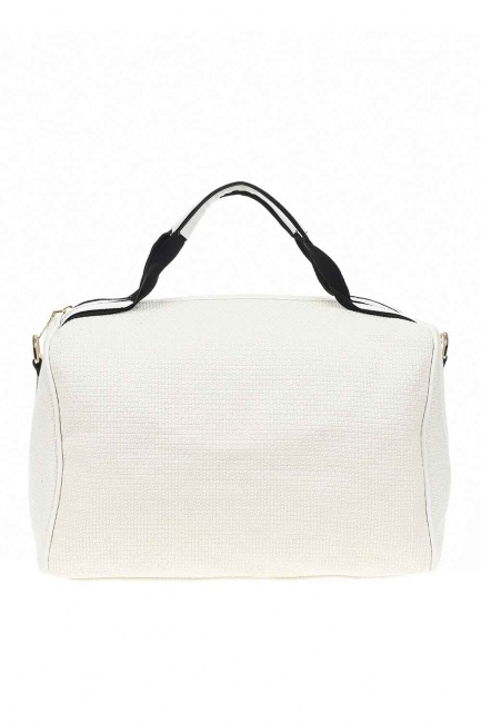 Knitting Large Handle Bag (White) - Thumbnail
