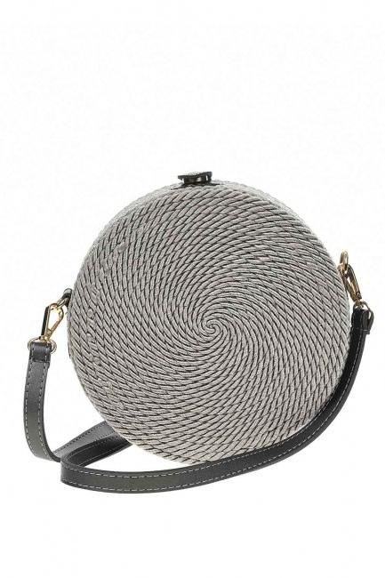 MIZALLE - حقيبة كتف مستديرة مع الرباط الحياكة (رمادي) (1)