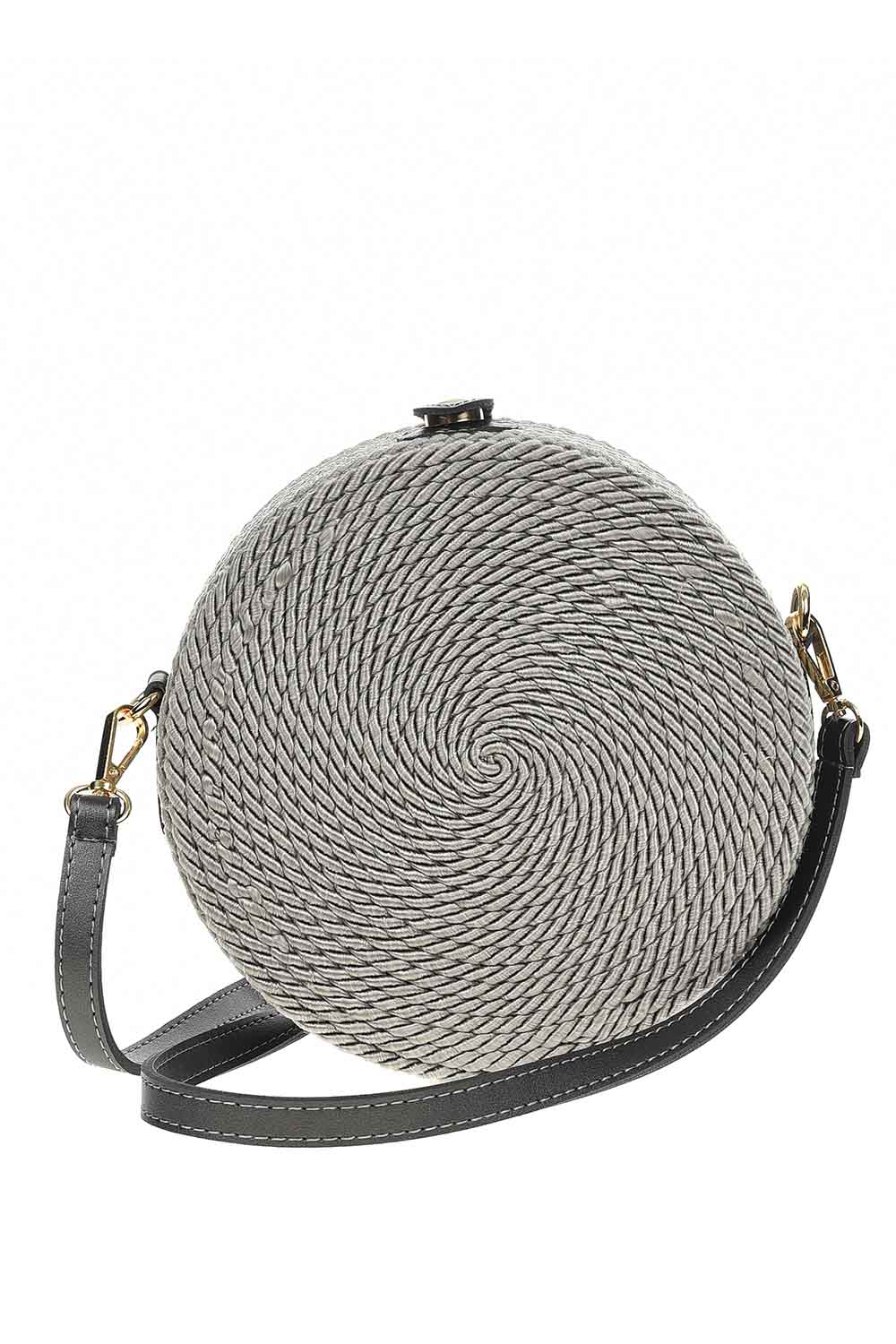 MIZALLE Knitting Drawstring Shoulder Bag (Grey) (1)