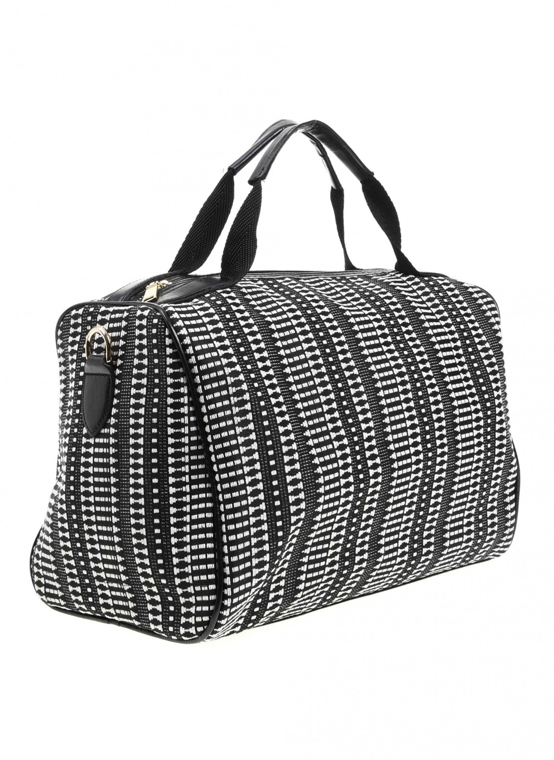 MIZALLE Knitting Large Hand Bag (Black-White) (1)