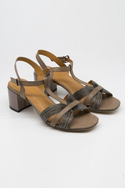 Örgü Tasarımlı Alçak Topuk Ayakkabı (Gri) - Thumbnail