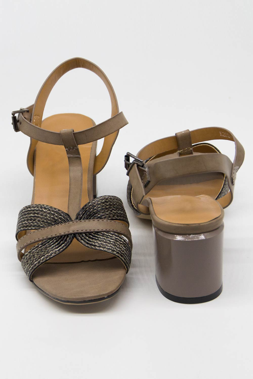 Örgü Tasarımlı Alçak Topuk Ayakkabı (Gri)