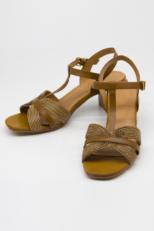 Örgü Tasarımlı Alçak Topuk Ayakkabı (Camel)