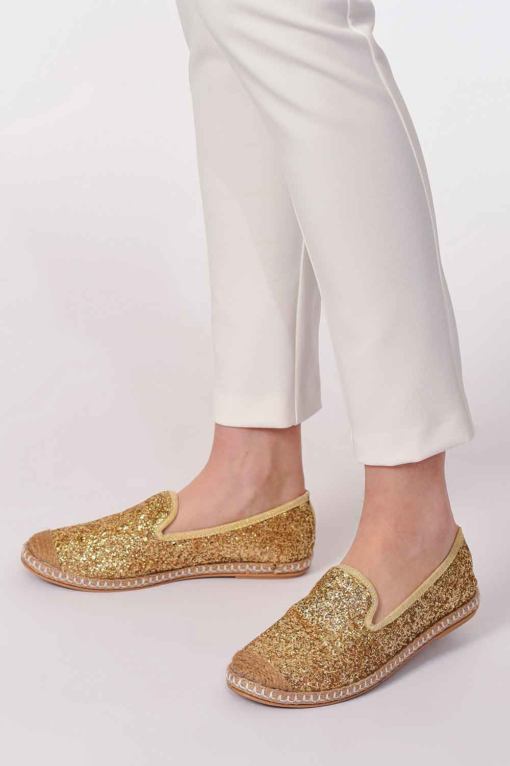 MIZALLE Braided Espadrille (Gold) (1)