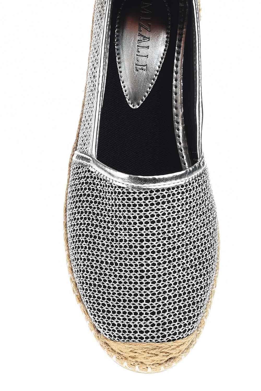 MIZALLE Örgülü Espadril (Gümüş) (1)