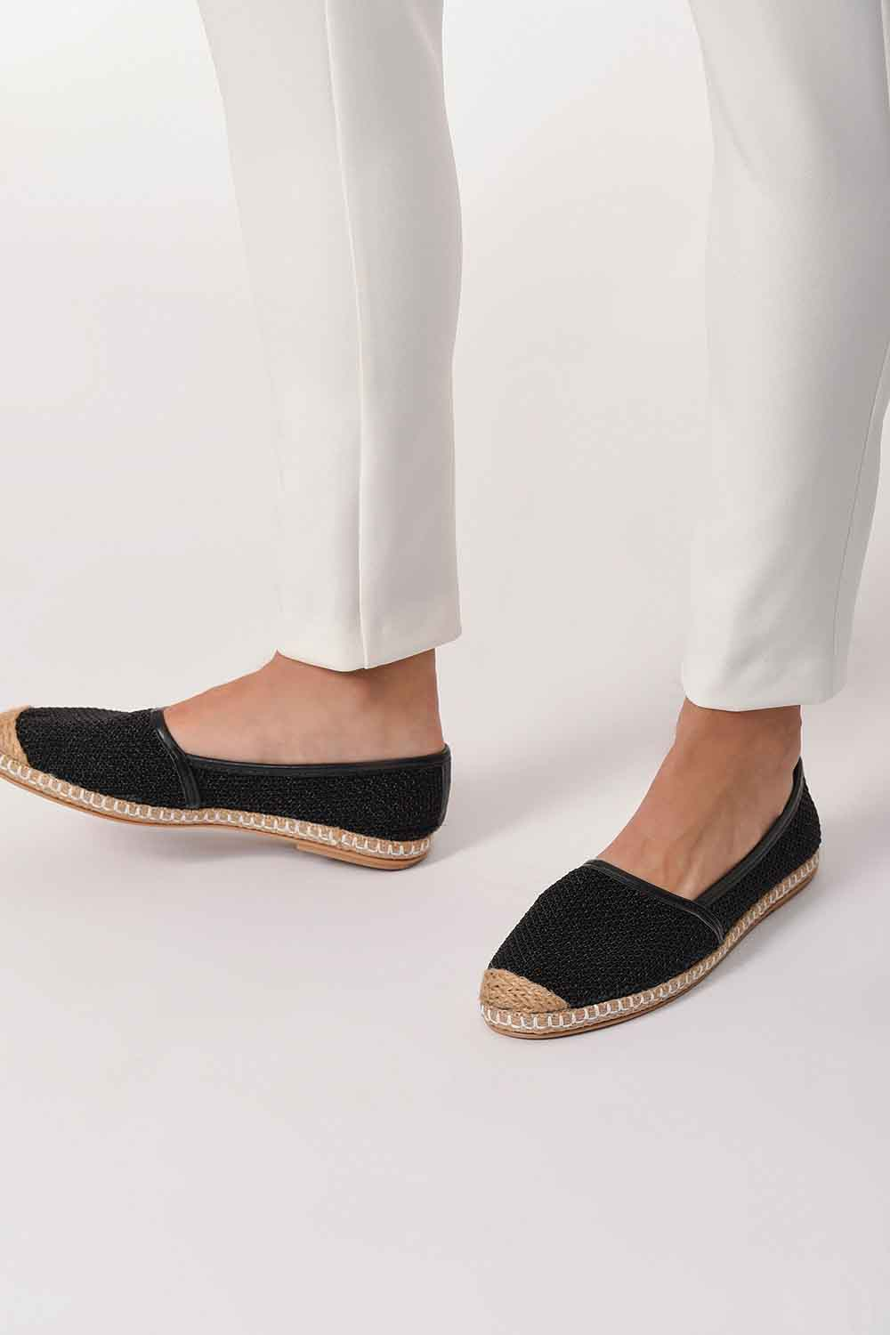 MIZALLE Braided Espadrille (Black) (1)