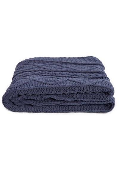 مضفر مقعد أزرق داكن شال (130x170) - Thumbnail