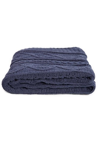 MIZALLE HOME Braided Dark Blue Seat Shawl (130X170)
