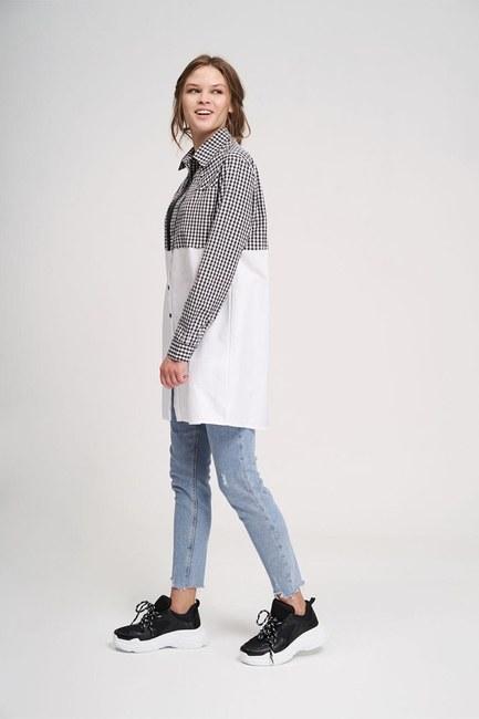 قميص بسحاب مزخرف (أسود / أبيض) - Thumbnail