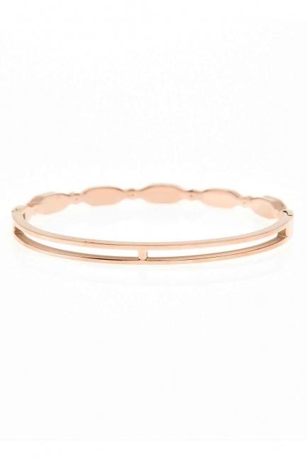 MIZALLE - Oval Steel Bracelet (St) (1)