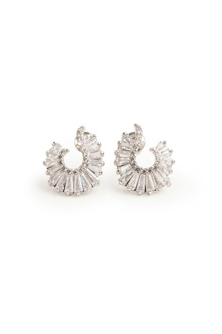 MIZALLE - Oval Shaped Earring (Silver) (1)