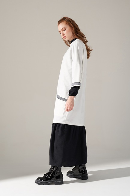 Mizalle - Over Uzun Sweatshirt (Beyaz)