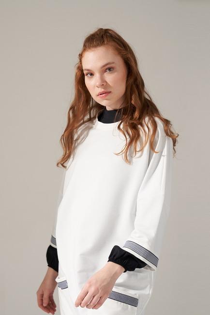 Over Uzun Sweatshirt (Beyaz) - Thumbnail