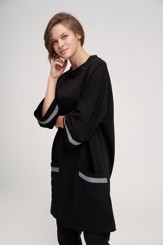 Over Uzun Siyah Sweatshirt