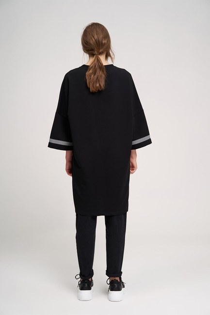 Over Uzun Sweatshirt (Siyah) - Thumbnail