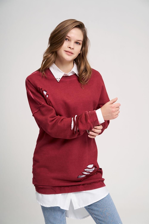 Özel Yıkamalı Bordo Sweatshirt