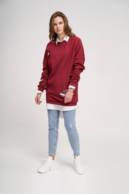 Mizalle - Özel Yıkamalı Bordo Sweatshirt