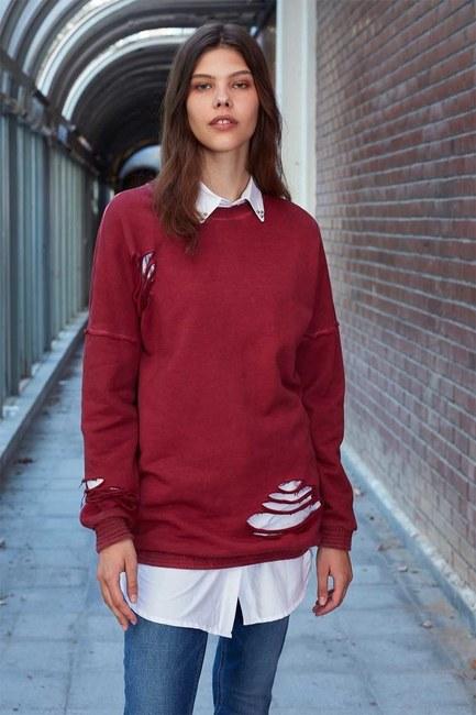 Özel Yıkamalı Sweatshirt (Bordo) - Thumbnail