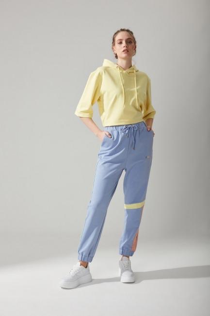 Mizalle - Beli Bağcıklı Jogger Mavi Pantolon