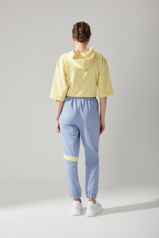 Beli Bağcıklı Jogger Mavi Pantolon