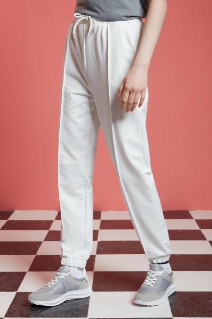 Basic Paçası Dikişli Jogger Pantolon (Ekru) - Thumbnail