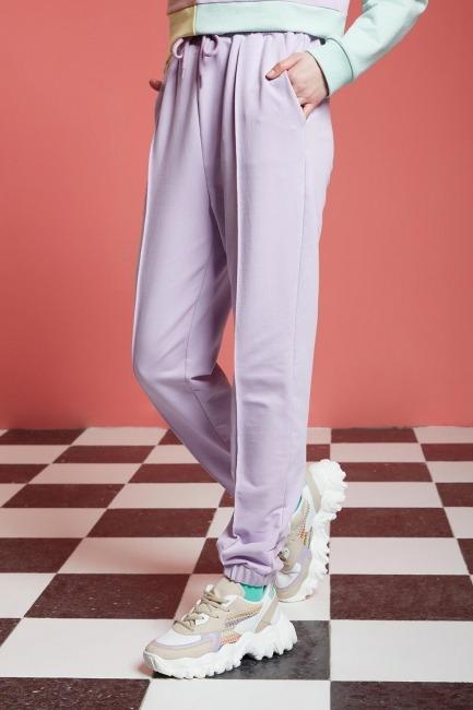 Basic Paçası Dikişli Jogger Pantolon (Lila) - Thumbnail