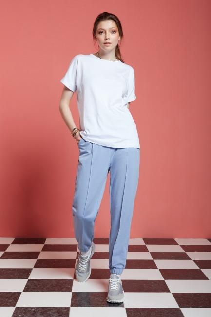 Mizalle - Basic Paçası Dikişli Jogger Pantolon (Mavi)