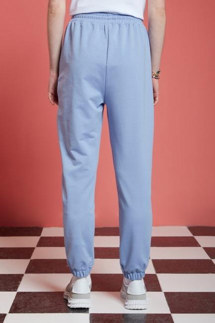 Basic Paçası Dikişli Jogger Pantolon (Mavi) - Thumbnail