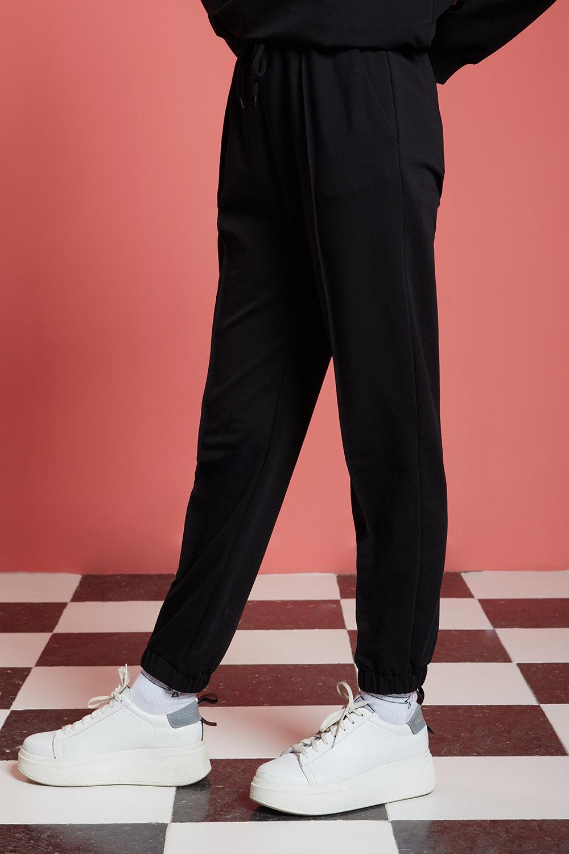 Basic Paçası Dikişli Jogger Pantolon (Siyah)