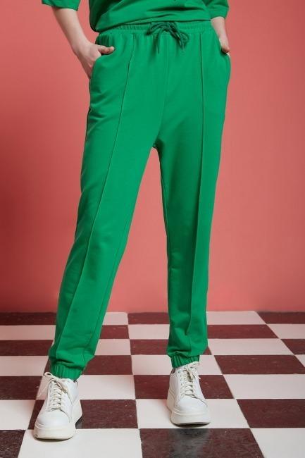 Basic Paçası Dikişli Jogger Pantolon (Yeşil) - Thumbnail