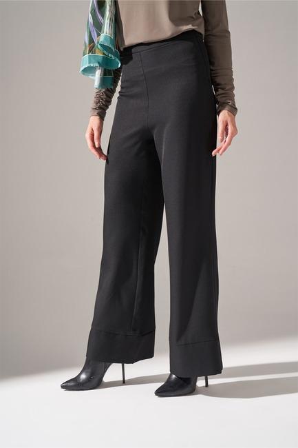 Paçası Parçalı Pantolon (Siyah) - Thumbnail