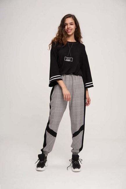 Paçası Şeritli Pantolon (Siyah/Beyaz) - Thumbnail