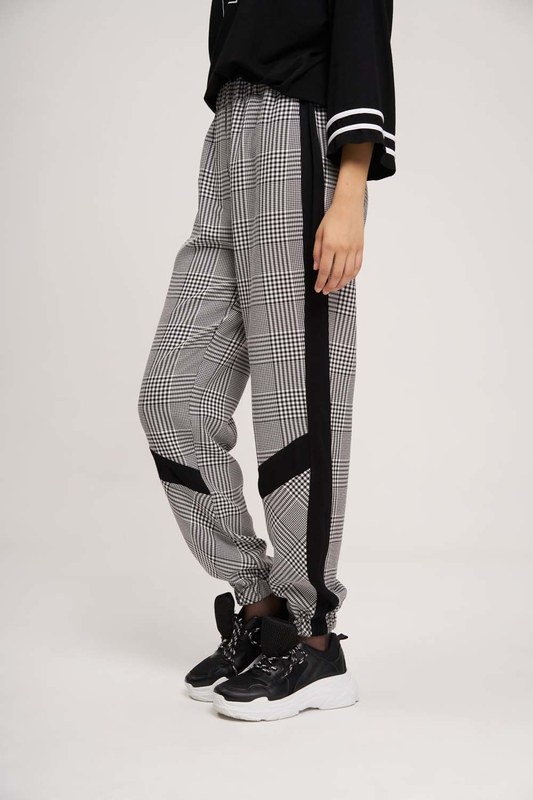 Paçası Şeritli Pantolon (Siyah/Beyaz)