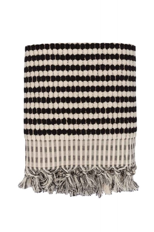 Black Spotted Cotton Towel (45X90)