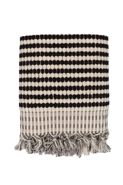 Black Spotted Cotton Towel (45X90) - Thumbnail