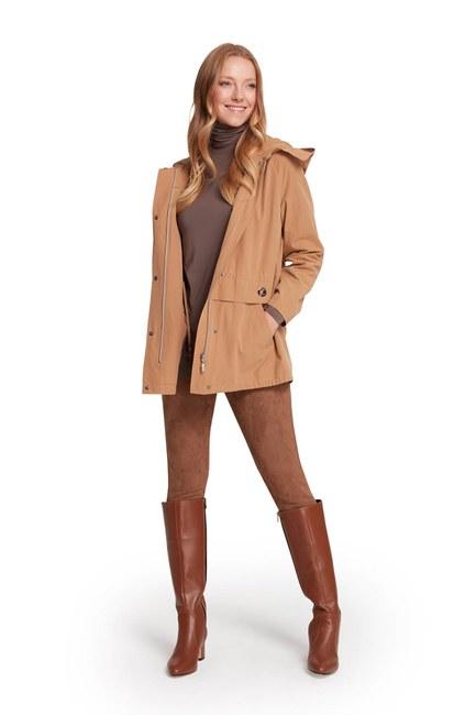 MIZALLE - معطف قصير مقنع (كريمي (1)