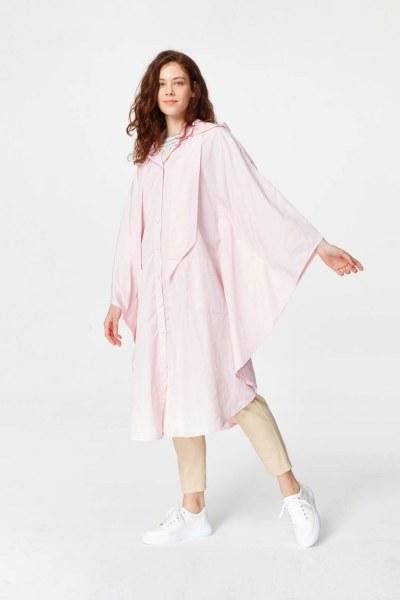 MIZALLE - معطف واق من المطر في تصميم المعطف (وردي فاتح) (1)