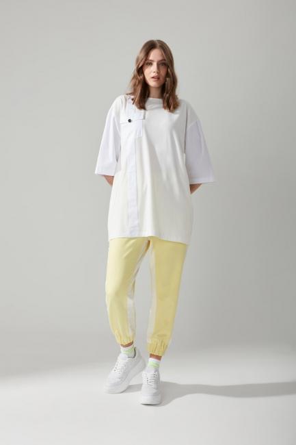 Mizalle - Paraşüt Kumaş Sarı Pantolon