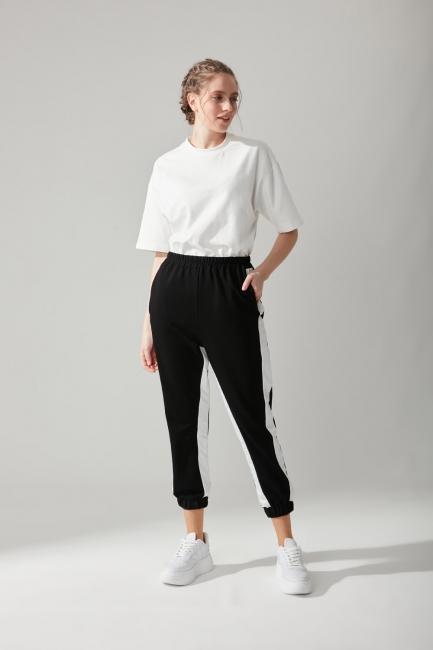 Mizalle - Paraşüt Kumaş Siyah Pantolon