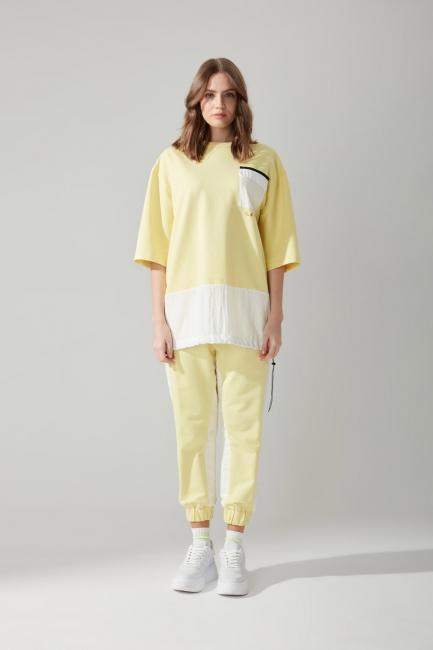 Mizalle - Cepli Sarı Sweatshirt