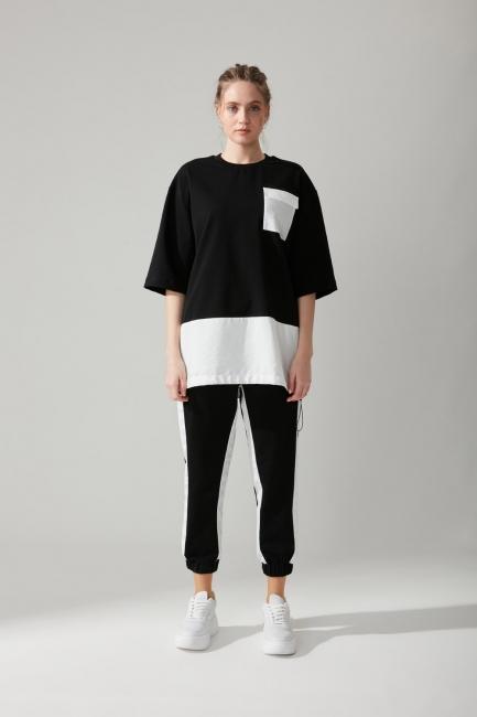Mizalle - Cepli Siyah Sweatshirt