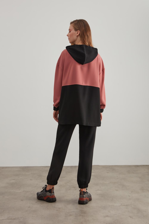 Siyah-Gül Kurusu Krep Kapüşonlu Sweatshirt