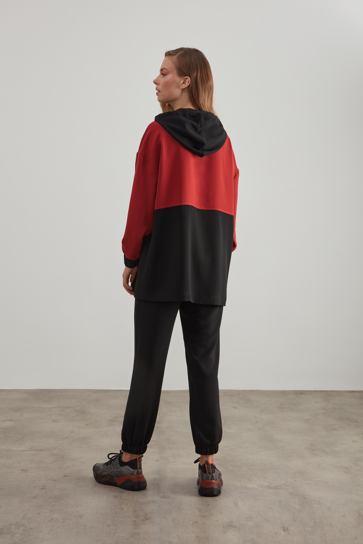 Siyah-Kiremit Krep Kapüşonlu Sweatshirt