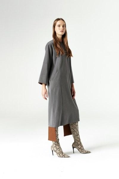 Mizalle - Parça Detaylı Elbise (Gri)